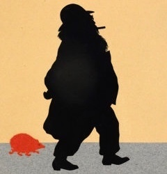 Silhouette of Brahms being followed by a red hedgehog