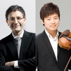 Combined portraits of conductor Pierre Vallet and violinist Siwoo Kim