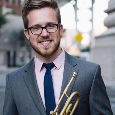 Portrait of trumpeter Brandon Ridenour
