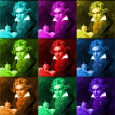 3-by-3 grid of repeated image of Beethoven, each in a different vibrant colour