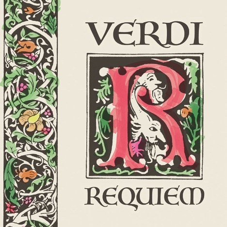 "The text ""VERDI REQUIEM"" surrounding an ornate ""R"""