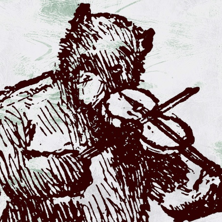 Illustration of a bear playing a violin