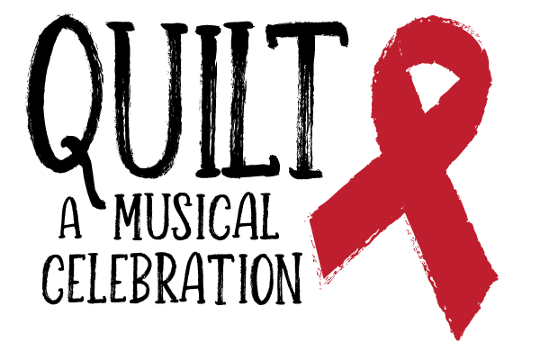 """The words """"Quilt, A Musical Celebration"""" with a red ribbon to the right."""