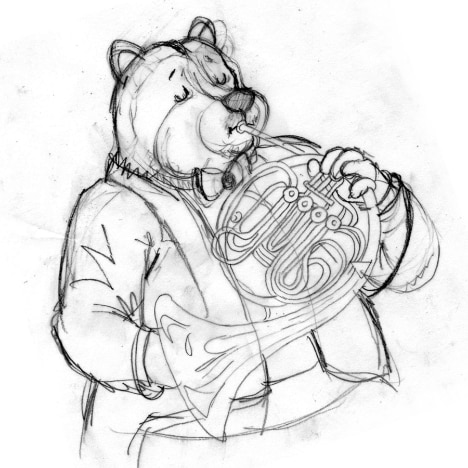 Sketch of a bear plating a French horn